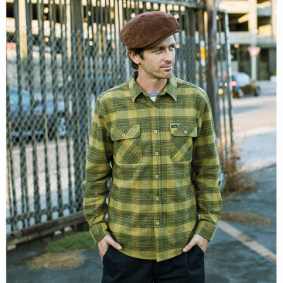 Brixton Bowery L/S Flannel Avocado in the group Men / Shirts, long sleeve at Sivletto - Skylark AB (01000-AVCDO)