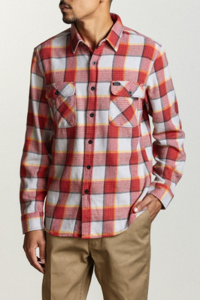 Brixton Bowery Shirt Red/Grey in the group Campaign / Big and Tall at Sivletto - Skylark AB (01000-Bowery-RDGRY)