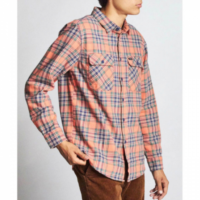 Brixton Bowery L/S Flannel Salmon/Navy in the group Men / Shirts, long sleeve at Sivletto - Skylark AB (01000)