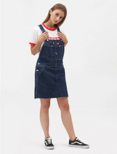 Dickies Hopewell Bib Dress Rinsed Indigo Blue in the group Denim / Dresses & Skirts at Sivletto - Skylark AB (1000004rnsd)