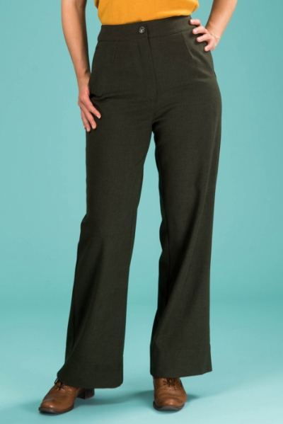 Emmy design The Dapper Dame Pants Deep Forest Combed Twill in the group Clearance / Women / Pants at Sivletto - Skylark AB (14201027)