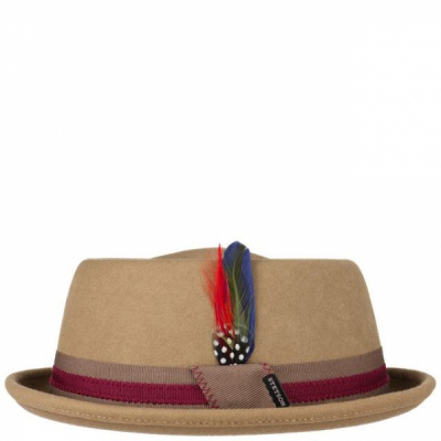 Stetson Stripe Woolfelt Pork Pie Hat Light Brown in the group Sale! / Men / Headwear at Sivletto - Skylark AB (1698106-72)