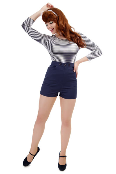 Collectif Talis blue shorts in the group Sale! / Women / Pants at Sivletto - Skylark AB (625494)