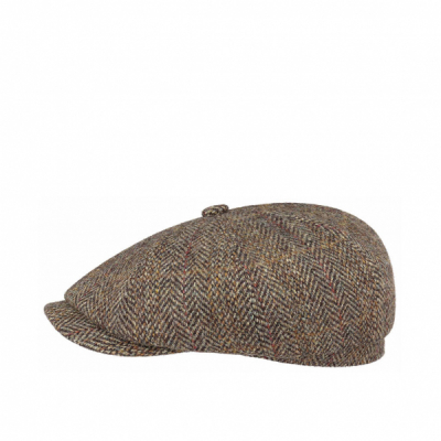 Stetson Hatteras Harris Tweed Virgin Wool Brown in the group Men / Headwear / Flat caps at Sivletto (6840506-367)