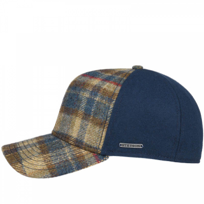 Stetson Trucker Cap Virgin Wool Check Blue in the group Men / Headwear / Trucker/baseball caps at Sivletto - Skylark AB (7750303-225)