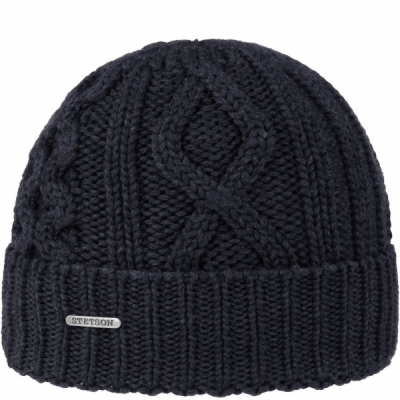 Stetson Tornell wool beanie navy in the group Men / Headwear / Beanies at Sivletto - Skylark AB (8599314-2)