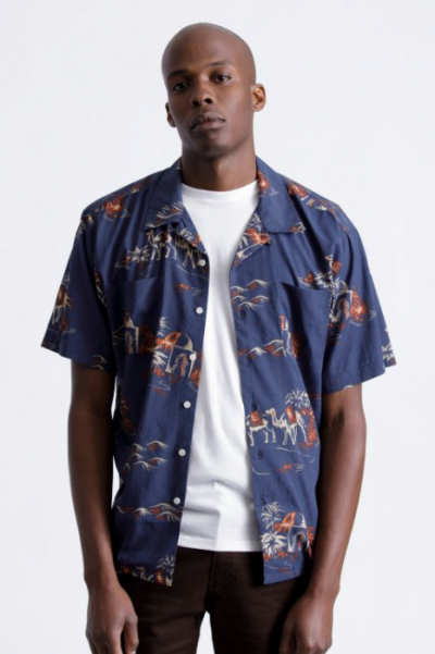 Brixton Cruze S/S Shirt Washed Navy/Ginger in the group Sale! / Men / Shirts at Sivletto - Skylark AB (BRI-0118-WANGN)