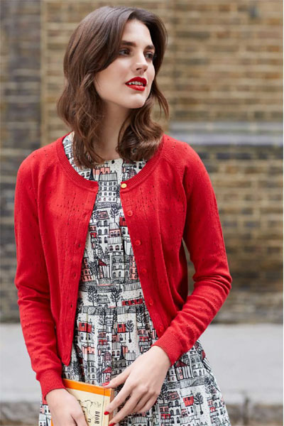 Emily and Fin Clementine L/Slv Cardigan Red in the group Sale! / Women / Tops, jackets etc at Sivletto - Skylark AB (CLKRED)
