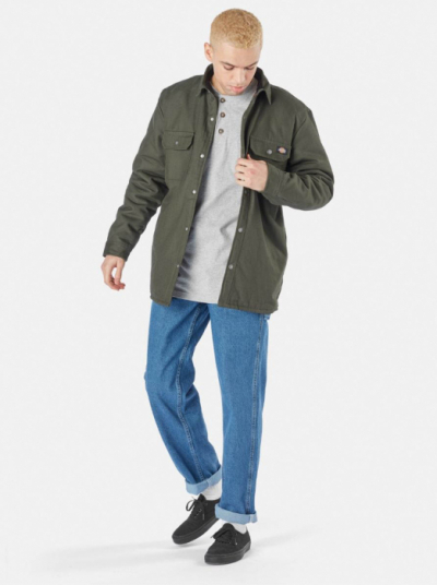 Dickies Lined Duck Shirt Jack Relaxed Olive Green in the group Clothes / Jackets and coats at Sivletto - Skylark AB (DKOA4XBR-OGX)