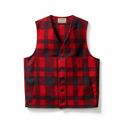 Filson Mackinaw Wool Vest Red/Black in the group Men / Vest at Sivletto - Skylark AB (Filson-11010055)