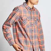 Brixton Bowery L/S Flannel Salmon/Navy