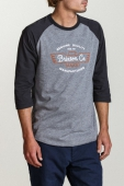 Brixton Concord 3/4 Sleeve Heather Grey/Washed Black