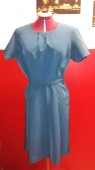 Vtg 50 Satin Blue Dress with Belt size Large