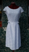 Vtg 50s White Party Dress, Label Leju Stockholm