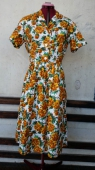 Vtg 50s Floral Dress size Large