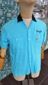 Men's 50s Vintage Rayon Bowling Shirt Amberley size M 15-15 ½
