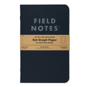 Field Notes Pitch Black 2-pack Large, Dot-Graph