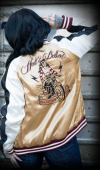 Rumble59 Souvenir Jacket 2-in-1 Satin Bomber Jacket Hell's Belles