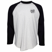 Santa Cruz Cut and Sew Opus Dot Baseball Top Black/Athletic Heather
