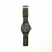 Timex MK1 Military 36mm Grosgrain Strap Watch Black Dial Green Strap