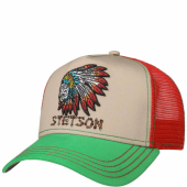 Stetson Trucker Cap Indian Skull Red