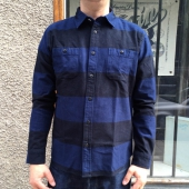 Edwin Labour Shirt Heavy Flannel Navy Black Stripes