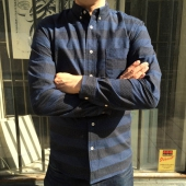 Edwin Classic Slim Shirt Blue Dots Stripes
