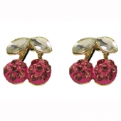 Collectif clothing pink cherry diamante earrings