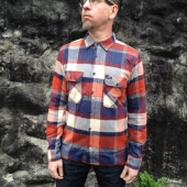 Brixton Archie Rust/Navy Flannel Shirt