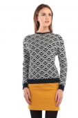 Collectif Clothing Faith Geometric Jacquard Jumper navy