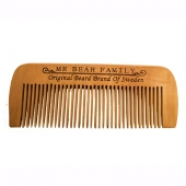 Mr Bear Family Beard Comb Peach Wood