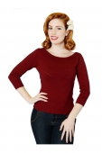 Collectif Clothing Bardot Boat Neck Jumper Burgundy
