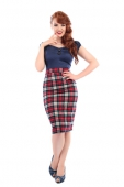 Collectif Clothing Polly Skirt Sherwood Check Navy/Red