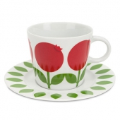 Floryd Porcelain cup and saucer lingonberry
