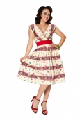 Bettie Page Sugar Beat Dress Fiesta Stripe