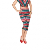 Bettie Page Honey Bop Capri Serape Stripe