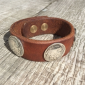 Lone Wolf Leather Indian/Buffalo Headnickel Bracelet