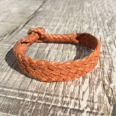 Lone Wolf Leather Braided Bracelet Flat Saddle Tan