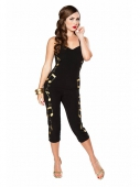 Bettie Page Rockabilly Baby Jumpsuit Black