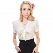 Collectif Tura Plain Blouse Ivory