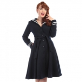Collectif Keira Nautical Swing Coat Navy