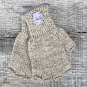 Upstate Stock Oatmeal Melange Fingerless Ragg Wool Gloves