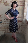 The Seamstress of Bloomsbury Vanessa dress navy spot