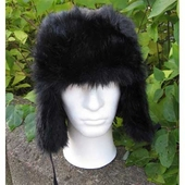 Black fake fur hat