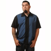 Steady Clothing Black and blue mid-panel shirt