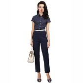 Collectif Bonnie Twill Navy Cigarette Trousers