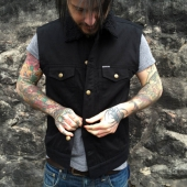 DePalma Sherpa Denim Vest Black