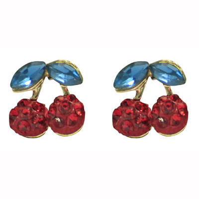 Collectif clothing red cherry diamante earrings in the group Women / Jewelry at Sivletto - Skylark AB (w10882)