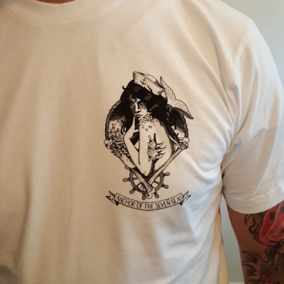 Anchor of the Seven Seas Mermaid White Tee in the group Sale! / Men / T-shirts at Sivletto - Skylark AB (w11202)