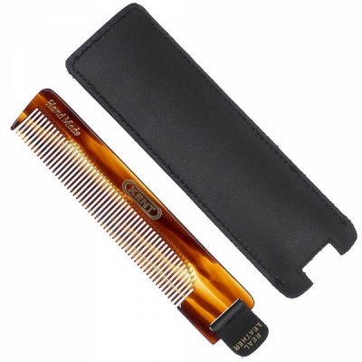 Kent NU22 112mm Fine comb - With Leather tab and case in the group Hair and skincare / Combs at Sivletto - Skylark AB (w11383)